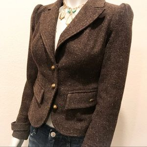 GUESS Brown Tweed Princess Cut Blazer